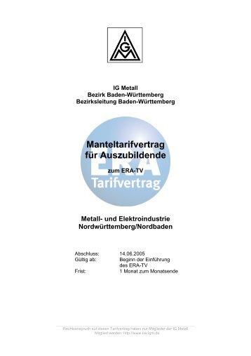 Manteltarifvertrag für Auszubildende - IG Metall Baden-Württemberg