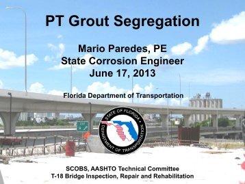 PT Grout Segregation