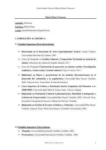 Descargara Currículum Vitae Completo - Maria Elena Troncoso