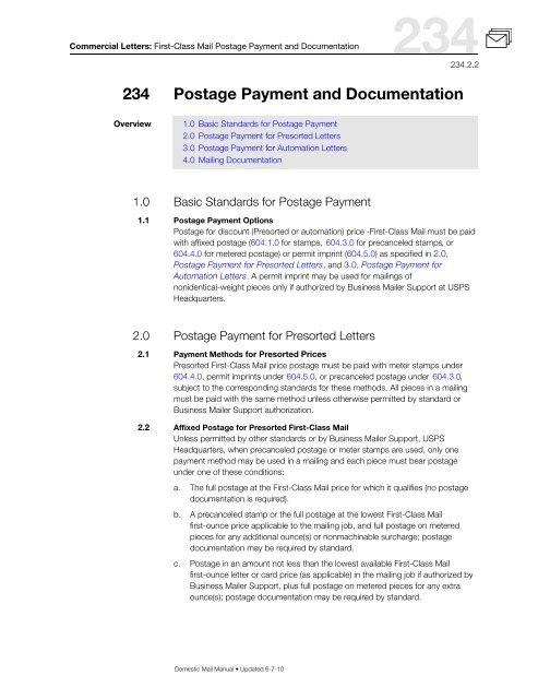 DMM 234 First-Class Mail Postage Payment and Documentation for .