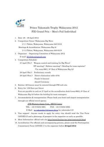 Prince Takamado Trophy Wakayama 2012 FIE Grand Prix – Men's ...
