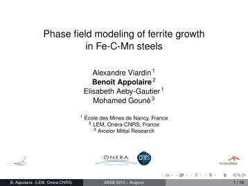 Phase field modeling of ferrite growth in Fe-C-Mn steels - alemi.ca