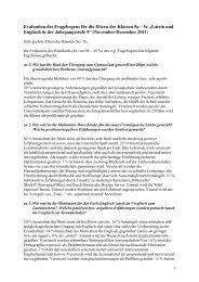 Evaluation des Fragebogens für die Eltern der Klassen 5a – 5c ...