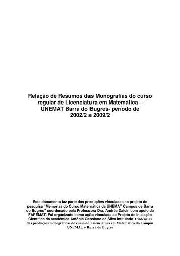 Relação de Resumos das Monografias do curso regular ... - UNEMAT