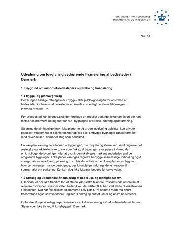 Udredning om lovgivning vedrørende finansiering af ... - Ny i Danmark