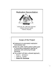 Medication Reconciliation - Maryland Patient Safety Center