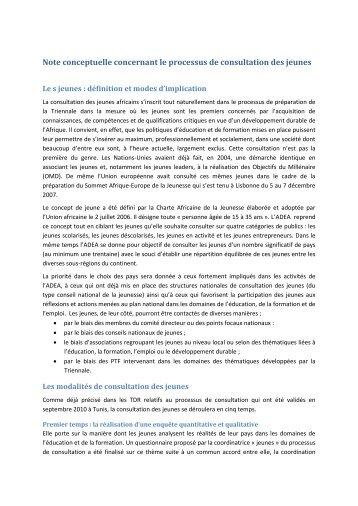 Note conceptuelle concernant le processus de consultation ... - ADEA
