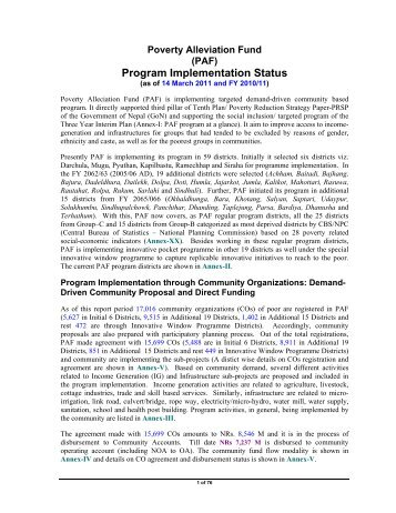 Status report till 14 March 2011 - Poverty Alleviation Fund, Nepal