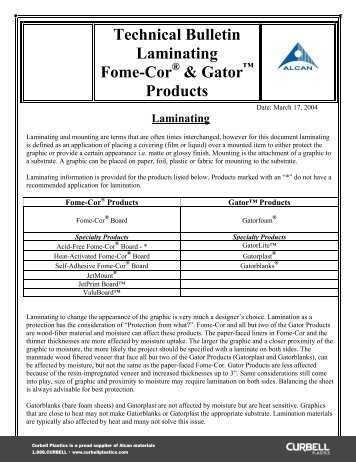 Fome-Cor® and Gator™ Products - Curbellplastics.com