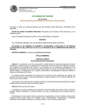 LEY GENERAL DE TURISMO - Sectur