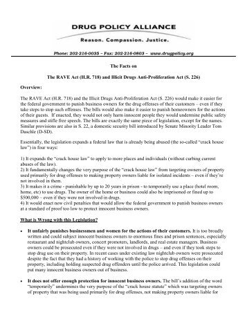The Facts on The RAVE Act (H.R. 718) and Illicit Drugs Anti ...
