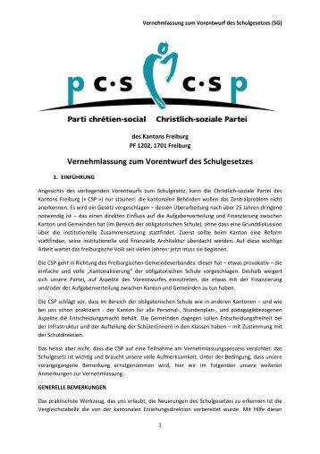 Vorentwurf des neuen Schulgesetzes - CSP