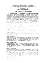 MINISTÉRIO DA CIÊNCIA E TECNOLOGIA - MCT INSTITUTO ... - Inpe