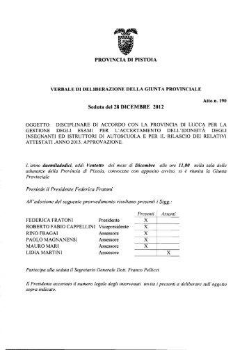 PROVINCIA DI PISTOIA Seduta del 28 DICEMBRE 2012 - Utgpistoia.it
