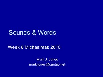 Sounds & Words 2 - Ling.cam.ac.uk