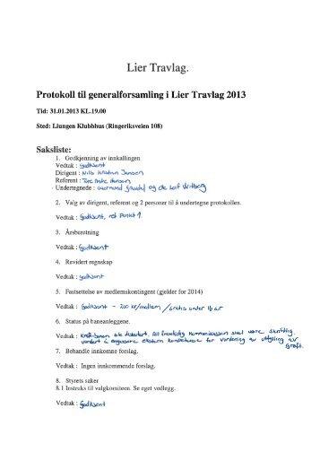 Protokoll til Generalforsamling 2013.pdf - Det Norske Travselskap