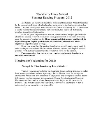Woodberry Forest School Summer Reading Program, 2012 ...