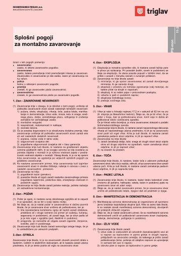 Splošni pogoji za montažno zavarovanje - Zavarovalnica Triglav