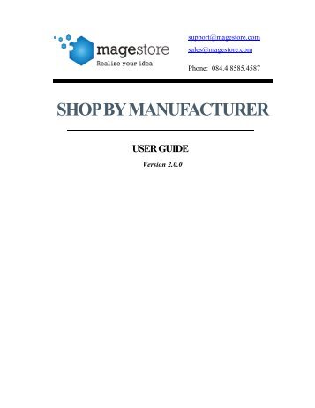 shop by manufacturer user guide - Magento Extensions