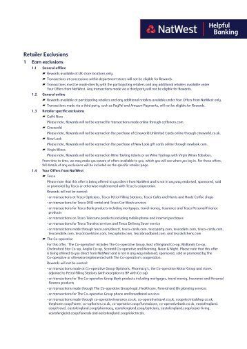 Retailer Exclusions (PDF, 833 KB) - NatWest Cashback Plus