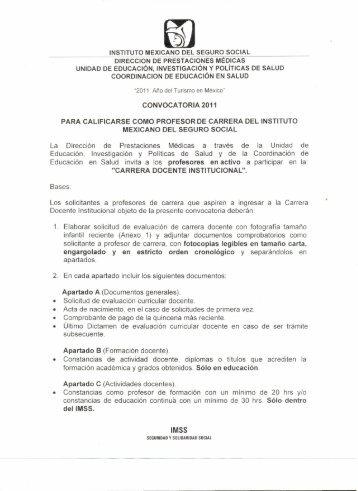 Convocatoria - Edumed IMSS - Instituto Mexicano del Seguro Social
