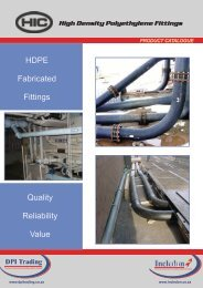 HIC Fabricated HDPE Fittings - Incledon