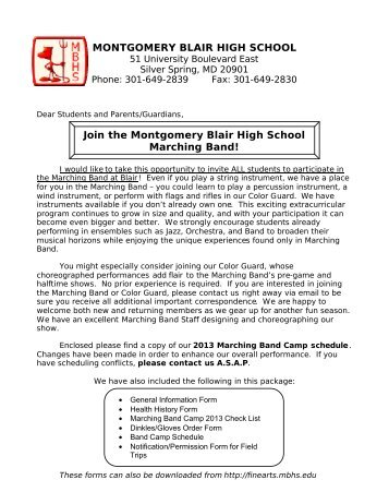 Marching Band Welcome Letter - Fine Arts - Montgomery Blair High ...
