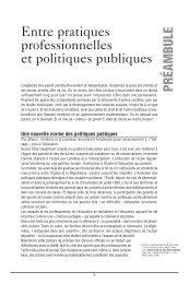 Entre pratiques professionnelles et politiques publiques - Injep