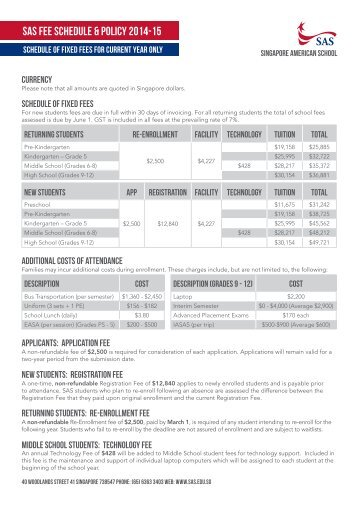 Fee Schedule - Singapore American School
