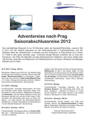 Adventsreise nach Prag Saisonabschlussreise 2012