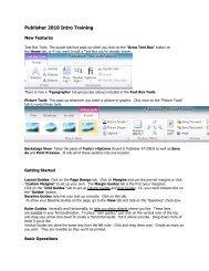 Publisher 2010 Intro Training - Port Huron Area Schools