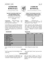 GEMEINDE BURGSTALL COMUNE DI POSTAL - Provincia ...