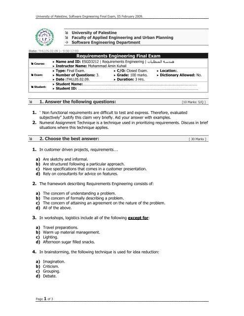 Requirements Engineering pdf - University of Palestine - Exams