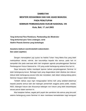 SAMBUTAN MENTERI KEHAKIMAN DAN HAK ASASI MANUSIA ...