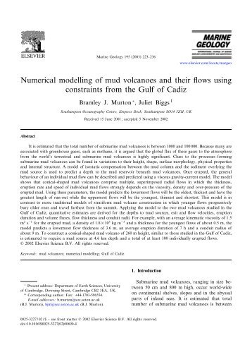 Numerical modelling of mud volcanoes and their ... - ResearchGate