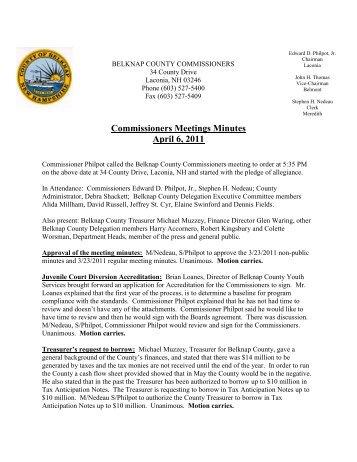 04 06 11 Meeting Minutes - Belknap County