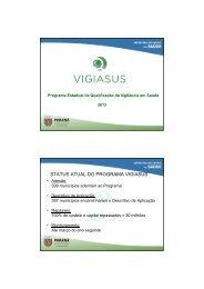 Apresentação VIGIASUS - Conselho Estadual de Saúde