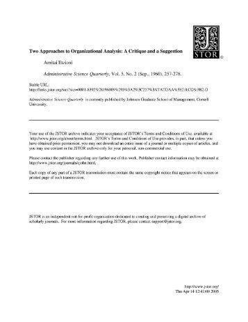 Two Approaches to Organizational Analysis: A ... - Amitai Etzioni