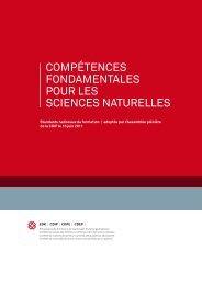 COMPéTENCES FONdaMENTalES POur lES SCIENCES NaTurEllES