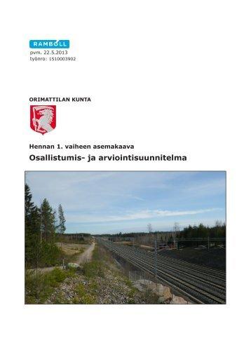 Osallistumis- ja arviointisuunnitelma - Orimattilan Kaupunki