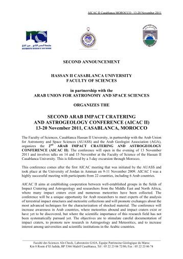 second arab impact cratering and astrogeology conference