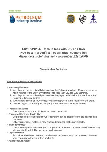 ENVIRONMENT face to face with OIL and GAS ... - petroleumclub.ro