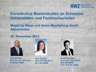 Konsekutive Master-Studiengänge an Schweizer ... - Together AG