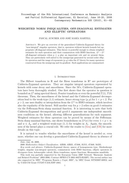 WEIGHTED NORM INEQUALITIES, OFF-DIAGONAL ESTIMATES ...