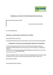 Bestellung von Literatur für die Schwerbehindertenvertretung .