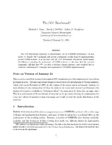 The OO7 Benchmark* Michael J. Carey David J. DeWitt Jeffrey F ...