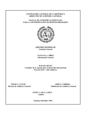 Manual de Auditorias Especiales - Ministerio de Comercio e Industrias