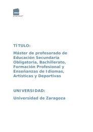 Máster de profesorado de Educación Secundaria - Ecobachillerato
