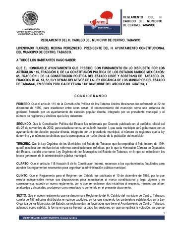 Reglamento del H. Cabildo del Municipio - Villahermosa