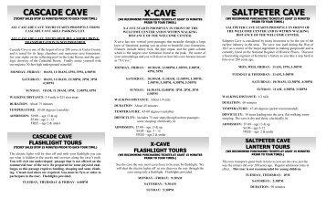 CASCADE CAVE X-CAVE SALTPETER CAVE - Kentucky State Parks